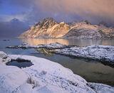 Sund Gold, Sund, Lofoten, Norway, beautiful, shaft, golden, sunlight, snow, clouds, illuminate, jagged, peaks, weather,  photo