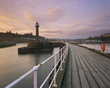 Sunrise Whitby Quay, Whitby, Yorkshire, England, abbey. town, planking, railings, curved, lines, sunrise, silhouetted  photo