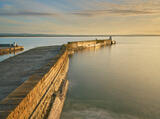 Sunset Gold Burghead, Burghead Harbour, Moray, Scotland, winter, evening, sunset, Burghead harbour, wall, waves