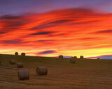 Sunset Strawbales, Forres, Moray, Scotland, sloping, field, cut, rolled, combine harvester, shape, sun, cloud, movement, photo