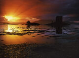 Super Nova Stalker, Castle Stalker, Appin, Scotland, luck, sunset, sullen, gash, torn, nova, cloud, rays, radiating, cas photo