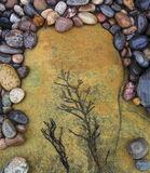 Temporary Art, Cummingston, Moray, Scotland, beach, coast, bedrock, pebbles, ochre, sandstone, multi-coloured, sea weed  photo