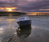 The Susan Ann, Findhorn, Moray, Scotland, estuary, low tide, sand banks, Culbin, boat, wet, marooned, reflecting, sunset photo