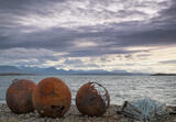Three Buoys, Polbain, Inverpolly, Scotland, stony, beach, boat, entropy, rust, riddled, mountains, clouds, Torridon, sno photo
