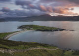 Tombolo Sunset, Loch Eribol, Sutherland, Scotland, unusual, structure, house, lime kiln, old, rose, stained, stone, wall photo