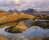 Torridon Massif, Diabaig, Torridon, Scotland, lochan, tongue, heather, bracken, sunset, cloud, light, shade, warmer, bea photo