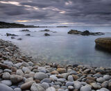 Turquoise Cove, Clashach Cove, Moray, Scotland, beach, Hopeman, summer, pale, rocks, pebbles, sky, clarity, sea, storm photo