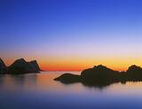 Twilight Wedge Hamn, Hamn, Senja, Norway, transitions, colour, blue, orange, smooth, tones, black, silhouetted, shapes   photo