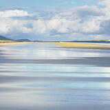 Unblemished Complexion, Traigh Rosamol, Harris, Scotland, beach, clean, wetted, surface, ebbed, tide, sandy, reflected photo