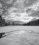 Unblemished Eilein Mono, Loch An Eilein, Cairngorm, Scotland, deep, marshmallows, pillows, snow, black and white, sky photo