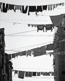 Washday Venice Mono, Burano, Venice, Italy, Mondays, household, scrubbed, washing, streets, dry, black and white, contra photo