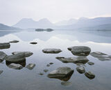 Watercolour, Loch Bad A Ghaill, Inverpolly, Scotland, beautiful, still, misty, beaches, loch, stones, recession, etherea photo