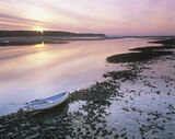 Watersmeet Findhorn, Findhorn, Moray, Scotland, beautiful, soft, pink, sunset, sky, estuary, boat, blue, tide, magical photo