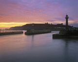 Whitby Dawn, Whitby, Yorkshire, England, crisp, beautiful, ethereal, mist, delicate, abbey, quayside, town, cliffs, morn photo