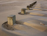 Wind Shadows, Findhorn, Moray, Scotland, beach, stumps, groynes, tide, sand, sea, wind, shell, wooden, posts, diagonal,  photo