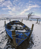 Windswept Blue, Ardessie, Dundonnell, Scotland, extreme, wide, distortion, stretched, boat, staves, gales, tree, clouds photo