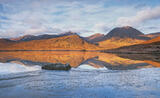 Winter Dawn Dochard, Loch Dochard, Highlands, Scotland, remote, lochan, dawn, tent, camping, breathlessly still, ice photo