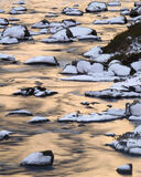 Winter Gold Reflection, Torridon, Highlands, Scotland, winter, river, moraine, snow, reflected, boulders, gold, blue   photo