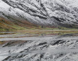 Winter Mirror Achtriochtan, Loch Achtriochtan, Glencoe, Scotland, freezing, reflection, ice sheets, snow, flat,  photo