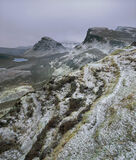 Winter Quiraing, Quiraing, Skye, Scotland, snow, warm, atlantic, coast, climate, mild, icing, dusting, delicately, peaks photo
