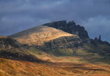 Winter Sunlight Storr Ridge, Storr, Skye, Scotland, winter, sunlight, dark, clouds, flank, Storr, Old man of Storr, ugly photo