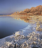 Winter Sunrise Loch Achanalt, Loch Achanalt, Achnasheen, Scotland, windless, cloudless, blue, golden, frozen, frosted  photo