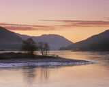 Winter Sunset Lochleven, Kinlochleven, Glencoe, Scotland, tangerine, sky, clouds, red, icy, warm, water, tidal, freezes  photo