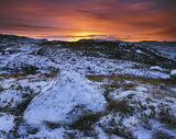 Winter Tangerine, Gruinard Bay, Laide, Scotland, snow, sparse, vegetation, reflectance, shadow, sunset, diffuse, rock, b photo