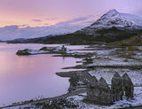 Winter Twilight Ardvreck, Ardvreck Castle, Assynt, Scotland, viewpoint, Calda House, gable, Quinag, castle, sky, dusk  photo