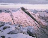 Winters Gown, Tom Na Gruigach, Torridon, Scotland, Beinn Alligin, snow, summit, pristine, pink, reflected, glow, mountai photo