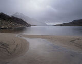 Wintery Shower Lurgainn, Loch Lurgainn, Inverpolly, Scotland, soft, pastels, hue, mood, mountains, Cul Beag, sand, beach photo