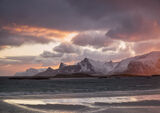 Yttresand Fire, Yttresand, Lofoten, Norway, favourite, views, sand, mountains, raspberry, blue, turquoise, grey, wet, su photo