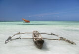 Zanzibar Dhow, Zanzibar, Tanzania, Africa, beautiful, deserted, coast, palm, paradise, clear, blue, outrigger, sea photo