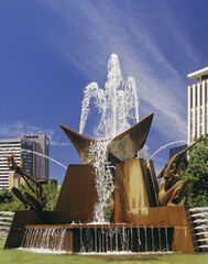 Adelaide Fountain, Adelaide, South Australia, Australia, hot, day, blue, sky, clouds, water, fountain, concrete, offices
