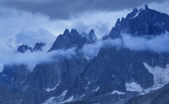 Alpine Blue, Les Houches, Chamonix, France, Bastille Day, firework, Mont Blanc Massif, mist, clouds, blue, twilit, moody
