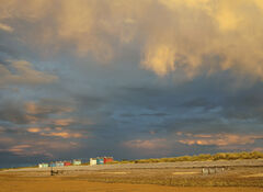 Amber Sands Findhorn, multi-coloured, beach huts, lurid, light, sun, sunset, hue, saturation