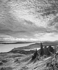 Apocalyptic Skye Mono, Old Man of Storr, Skye, Scotland, sky, grandeur, scenery, sharp, pinnacles, peaks, Cuillins, dram