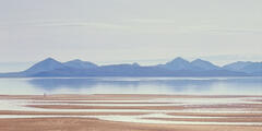 Applecross Strollers, enchanted, airy, surreal, floating, Skye, beach, undulating, sand, tide, dwarfed, scale, two, folk