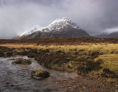 Approaching Storm Stob Dearg, Glencoe, Highlands, Scotland, magnificent, Buachaille etive mor, peak, snow, Coupal, river