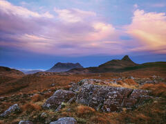 Bad A Ghaill Gloaming, Bad a Ghaill, Inverpolly, Scotland, Cul Mor, Stac Pollaidh, mountains, distinctive, copper, grass