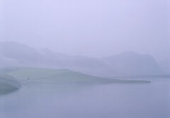 Barely Visible, Loch Eribol, Sutherland, Scotland, twilight, blue, misty, overlapping, hills, low contrast, fields, cott