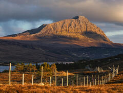 A stunning golden sunset bathes Ben Hope, Sutherland's tallest, though perhaps not the most impressive of Sutherland's peaks.