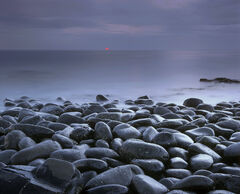 Blood, red, Black, Embleton, bay, Northumbria, England, boulders, polished, sea, sun, Dunstanburgh, castle