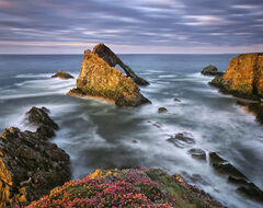 Bowfiddle Sunset, Portknockie, Moray, Scotland, rock, stack, coast, thrift, peak, cliff, sea, boiling, cauldron, tides,