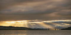 Breakthrough Inverness, Allanfearn, Highland, Scotland, exposure, panoramic, rays, golden curtain, aurora, sunlight, Kessock Bridge, Inverness, clouds