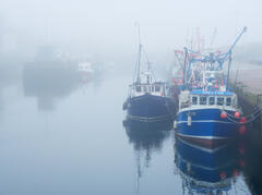 A non existent sunrise and some dense mist or fog had rolled into Burghead harbour on the Moray coast.
