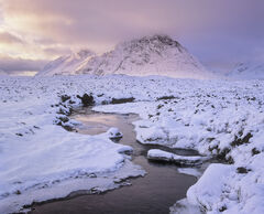Buachaille Rose, Rannoch Moor, Glencoe, Scotland, evening, sunlight, sky, conical, peak, mountain, pink, blue, ice, snow