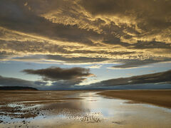 Burning Sky Findhorn, Findhorn, Moray, Scotland, rolling, mass, grey, clouds, coffee, sands, glow, illuminated, sun