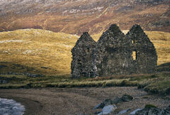 Calder House Silhouetted, Loch Assynt, Assynt, Scotland, sunlight, galloped, Spring, gable, house, ruin, Ardvreck castle
