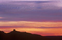 Castle Varrich Silhouette, Tongue, Sutherland, Scotlandsquare, block, perched, hill top, structure, sunset, fiery, red,